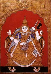 A Tanjore Painting depicting Goddess Saraswati