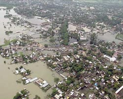 The flooding began after the Kosi River - known as the River of Sorrow - breached its banks, sending huge waves of water through a channel it had previously abandoned