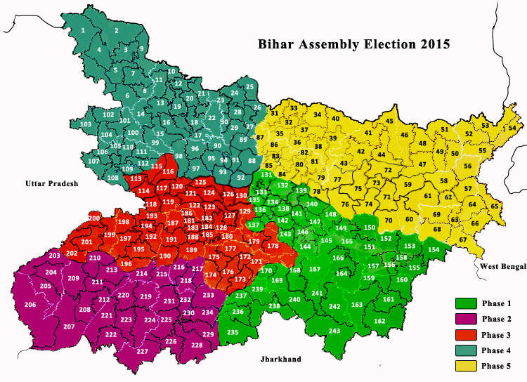 Bihar Assembly Election Constituencies Map 2015
