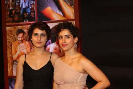 Actors Fatima Sana Shaikh and Sanya Malhotra during the success party of film Dangal