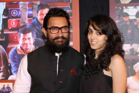 Aamir Khan along with daughter Ira Khan during the success party of film Dangal