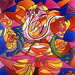 Modern Ganesha Glass Painting