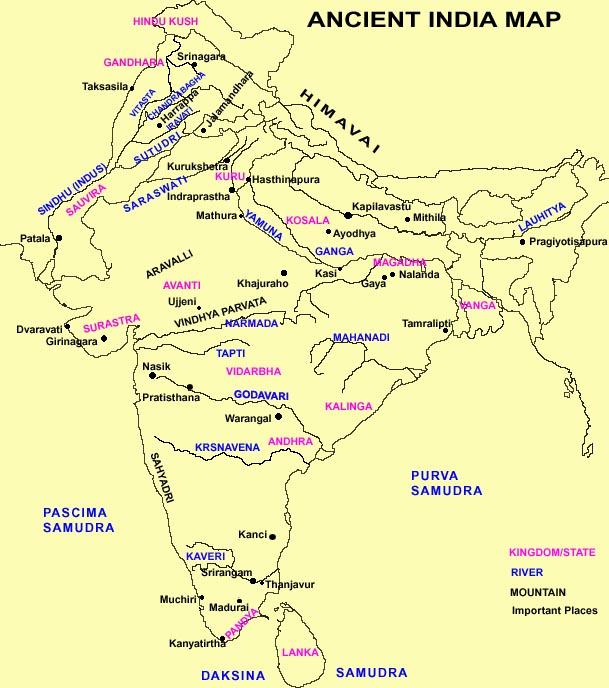Ancient India Map, Ancient India Map Mahabharata, Map Of
