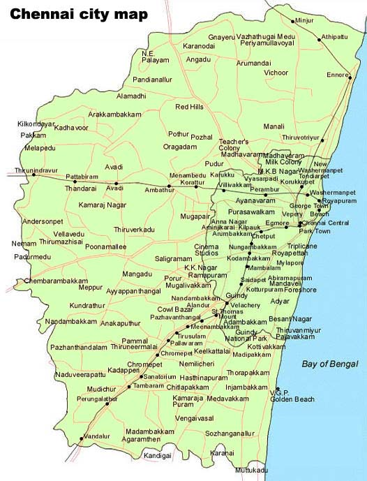 Chennai City Map,Maps of Chennai,Tamil Nadu,Chennai,India Maps,Map of Chennai India