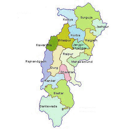 Map of Chhattisgarh