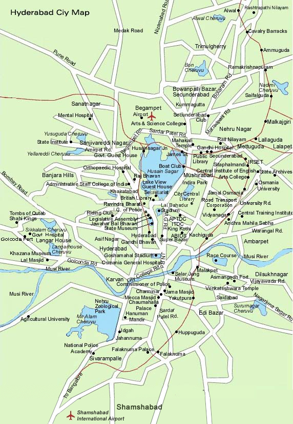 Hyderabad City Map, India