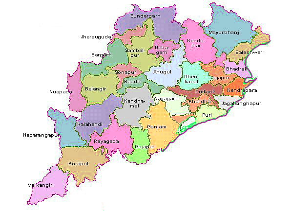 Map of Odisha