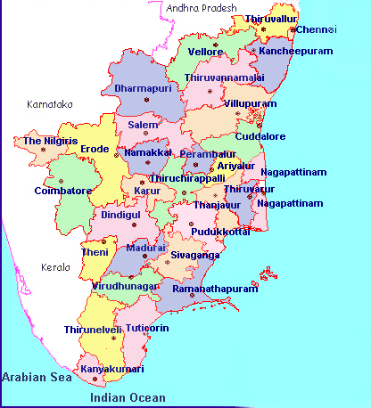 Map of TamilNadu