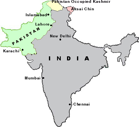 Map of India Pakistan,LOC of Pakistan India,Indo-Pak Map, line of control on Indo-Pak Map
