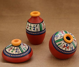 Teracotta Red Warli handpainted Decorative Pot