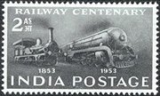 A commemorative postage stamp issued by the Indian Post celebrating 100 years of the Indian Railway in 1953.